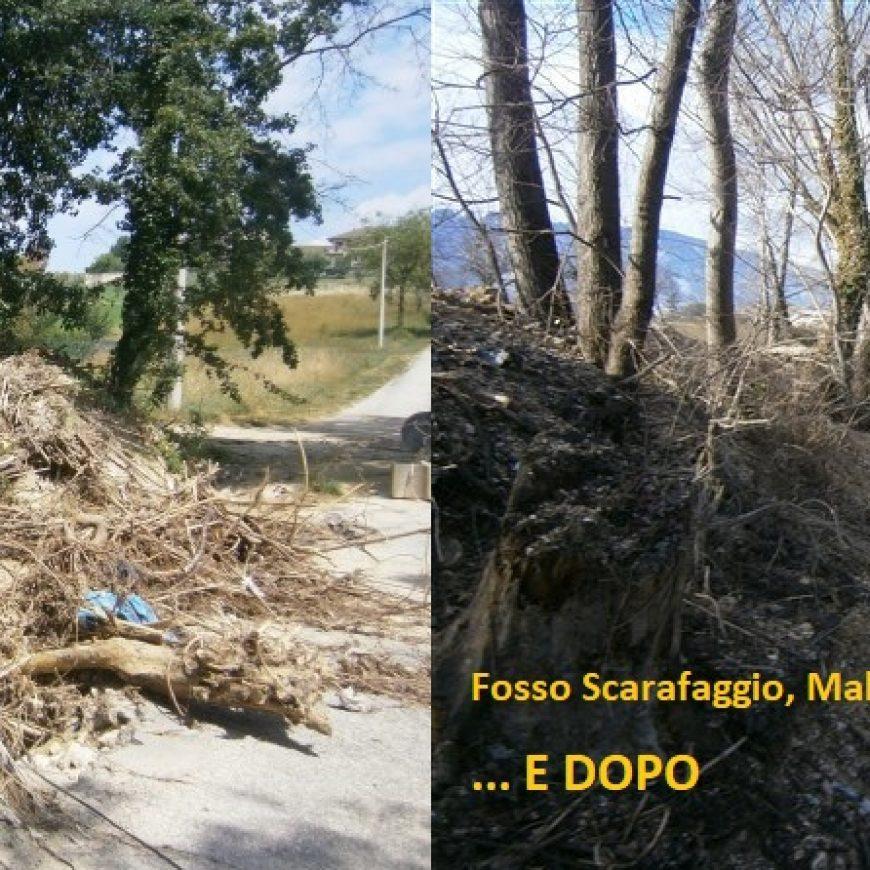 Torna a scorrere l'acqua nel fosso Scarafaggio a Maltignano: rimossi arbusti, ghiaia e terra