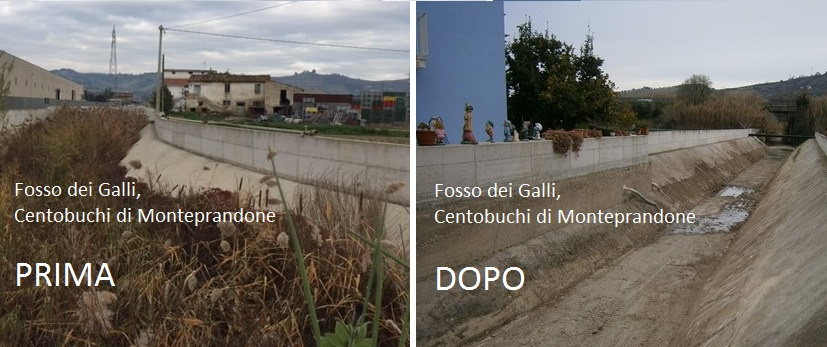 Pulito il fosso dei Galli: a Centobuchi torna a scorrere l'acqua