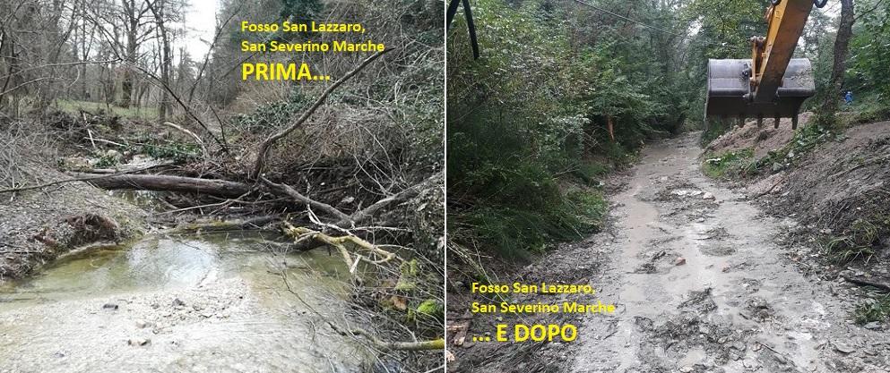 Tris di interventi a San Severino Marche: puliti i fossi San Lazzaro e Potenza