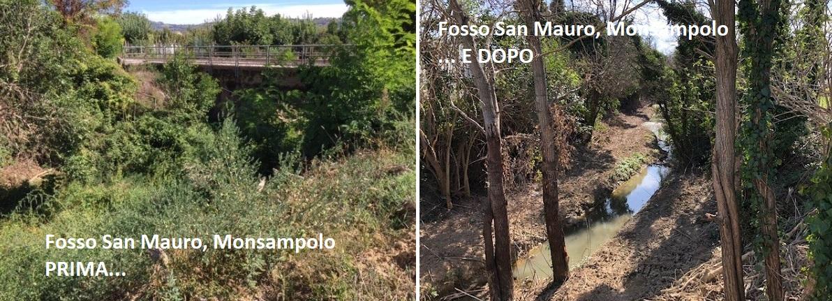 Interventi su due fossi nell'Ascolano: tecnici al lavoro a Monsampolo e Venarotta