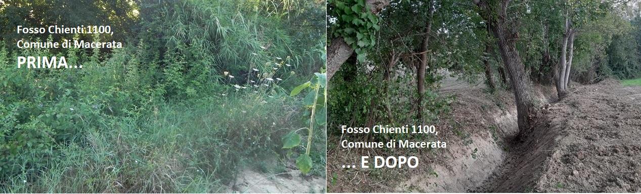 Terra e vegetazione nell'alveo, pulito il fosso Chienti a Macerata