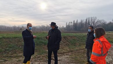 Visita alla prima area di naturale esondazione sul fiume Foglia (Pesaro). L'opera è quasi pronta.